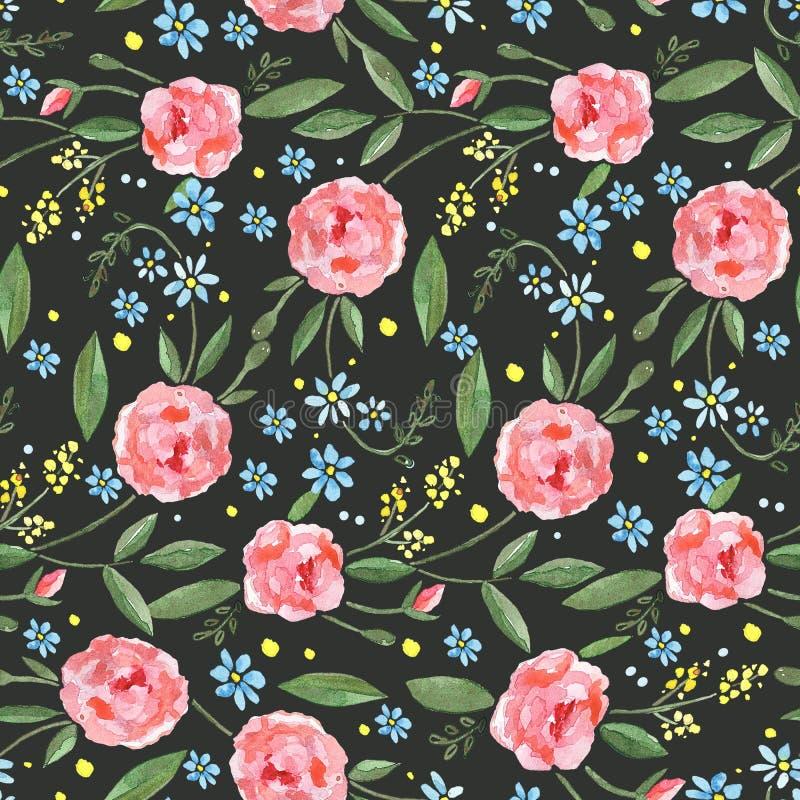 Άνευ ραφής σχέδιο με τα τριαντάφυλλα watercolor, τα φύλλα, τους κλάδους και τα μικρά μπλε λουλούδια ελεύθερη απεικόνιση δικαιώματος