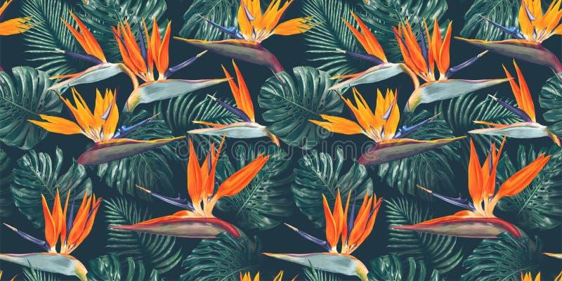 Άνευ ραφής σχέδιο με τα τροπικά λουλούδια και τα φύλλα Λουλούδια Strelitzia, φύλλα Monstera και φοινικών απεικόνιση αποθεμάτων