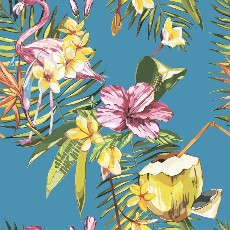 Άνευ ραφής σχέδιο με τα τροπικά λουλούδια, την καρύδα και το φλαμίγκο Στοιχείο για το σχέδιο των προσκλήσεων, αφίσες κινηματογράφ διανυσματική απεικόνιση
