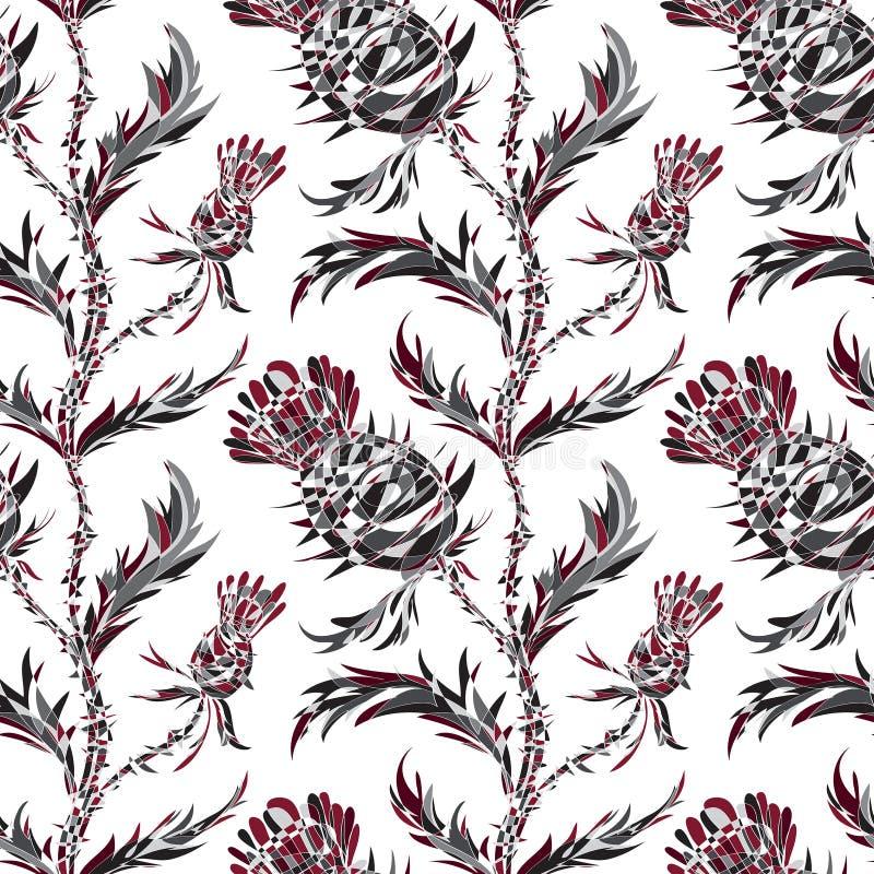 Άνευ ραφής σχέδιο με τα τυποποιημένα λουλούδια και τα φύλλα κάρδων ελεύθερη απεικόνιση δικαιώματος