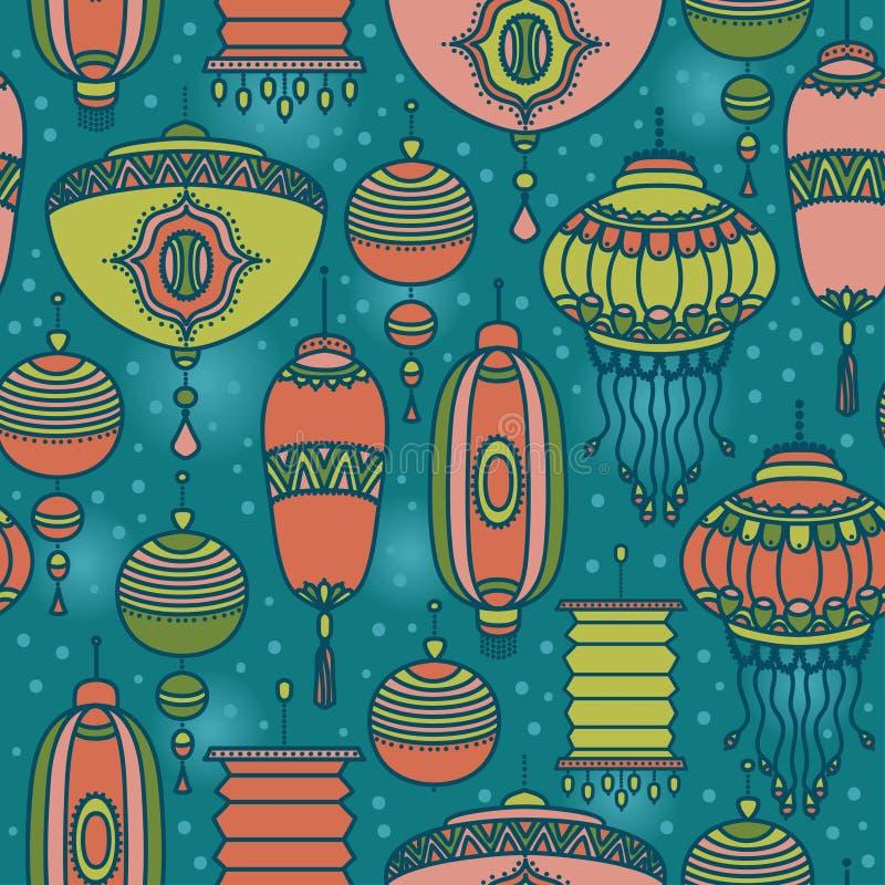 Άνευ ραφής σχέδιο με τα φανάρια παραδοσιακού κινέζικου διανυσματική απεικόνιση
