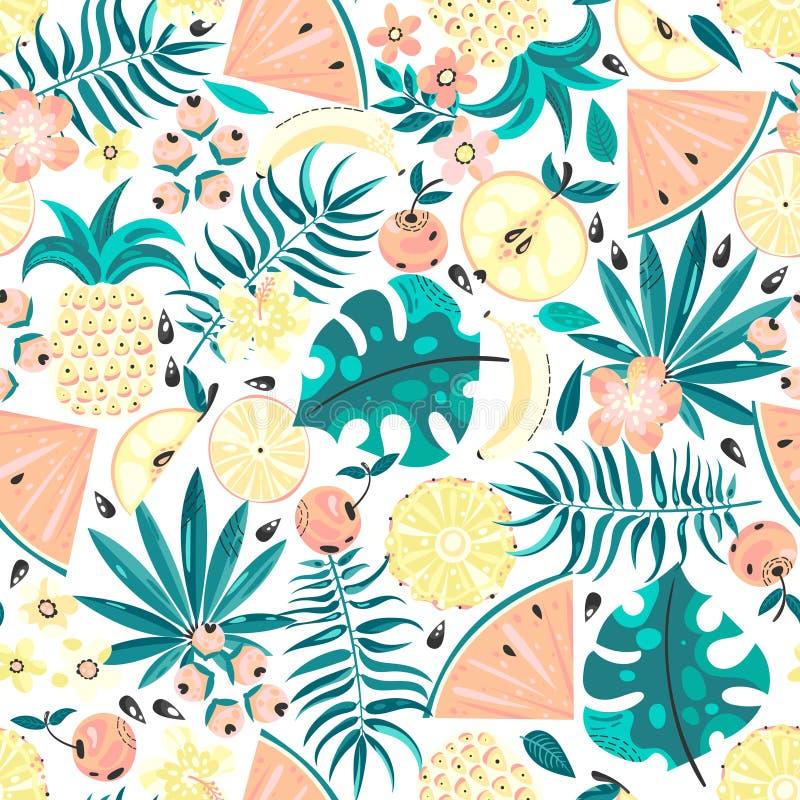 Άνευ ραφής σχέδιο με τα φρούτα και τα λουλούδια διανυσματική απεικόνιση