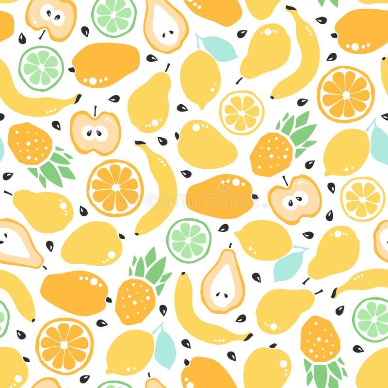 Άνευ ραφής σχέδιο με τα φρούτα και τους σπόρους υγιής χορτοφάγος τροφίμ&omeg Υπόβαθρο για τα υφάσματα, τυλίγοντας έγγραφο, διάφορ απεικόνιση αποθεμάτων