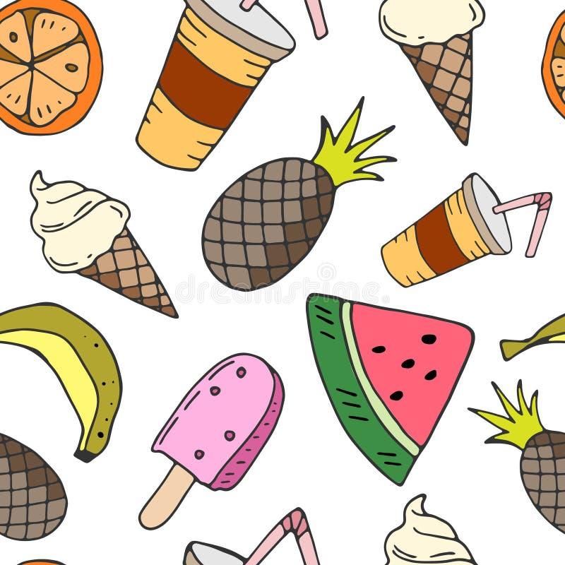 Άνευ ραφής σχέδιο με τα φρούτα, το παγωτό και το ποτό ελεύθερη απεικόνιση δικαιώματος