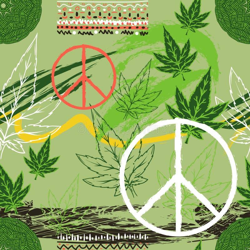 Άνευ ραφής σχέδιο με τα φύλλα καννάβεων, το σύμβολο ειρήνης χίπηδων, την εθνική διακόσμηση και grunge τα κτυπήματα βουρτσών Αφηρη απεικόνιση αποθεμάτων