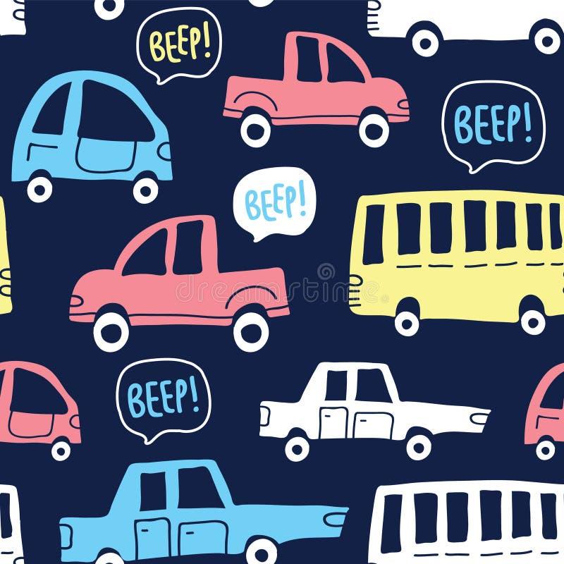 Άνευ ραφής σχέδιο με τα χαριτωμένα αυτοκίνητα στο σκοτεινό υπόβαθρο ελεύθερη απεικόνιση δικαιώματος