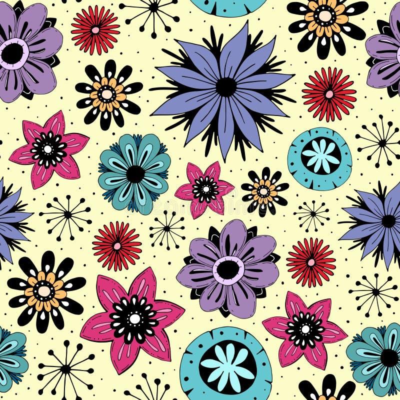 Άνευ ραφής σχέδιο με τα χαριτωμένα λουλούδια διανυσματική απεικόνιση