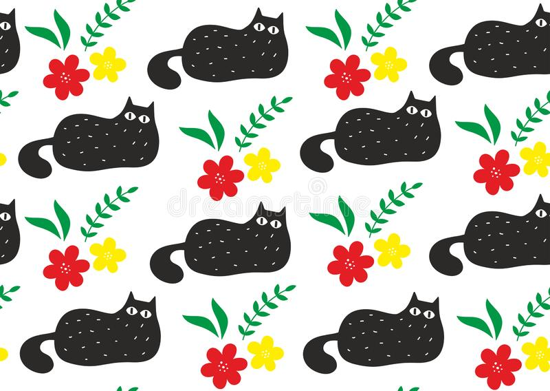 Άνευ ραφής σχέδιο με τα χαριτωμένα μαύρα ζωηρόχρωμα λουλούδια γατών anr απεικόνιση αποθεμάτων