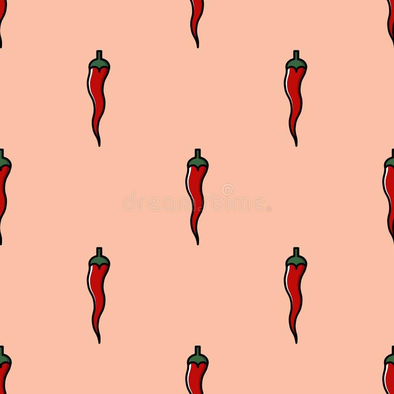 Άνευ ραφής σχέδιο με τα χορτοφάγα τρόφιμα - κόκκινο - καυτά πιπέρια τσίλι στο πορτοκαλί υπόβαθρο - για sauÑ  ES ή πρόχειρα φαγητ διανυσματική απεικόνιση