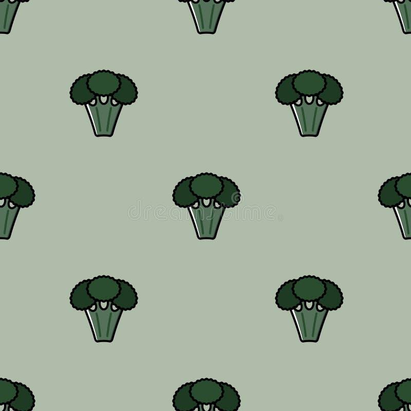 Άνευ ραφής σχέδιο με τα χορτοφάγα τρόφιμα - μπρόκολο στο πράσινο υπόβαθρο για την εκτύπωση απεικόνιση αποθεμάτων