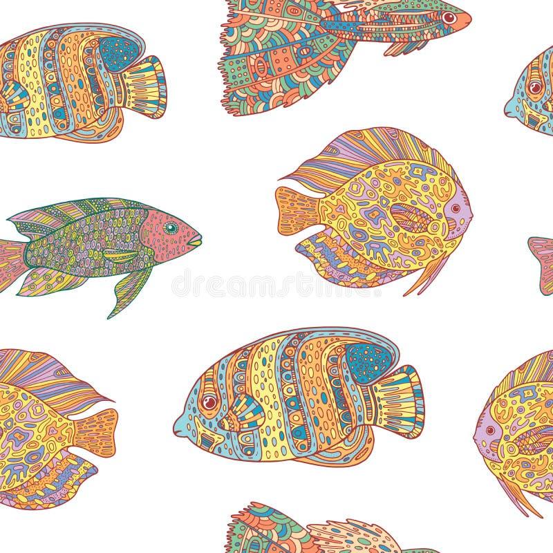 Άνευ ραφής σχέδιο με τα ψάρια τέχνης zen doodle στο άσπρο υπόβαθρο απεικόνιση αποθεμάτων
