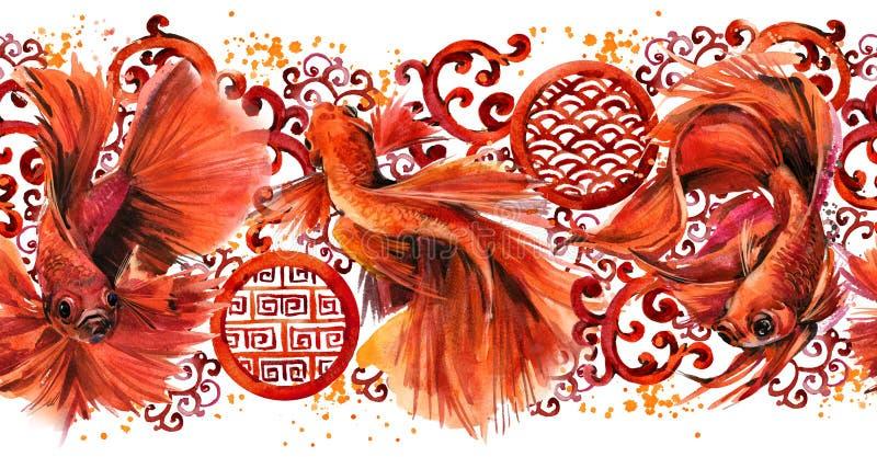 Άνευ ραφής σχέδιο με τα ψάρια betta Απεικόνιση φύσης Watercolor ασιατικό ύφος ανασκόπηση&sigm απεικόνιση αποθεμάτων