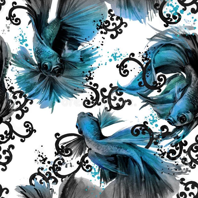 Άνευ ραφής σχέδιο με τα ψάρια betta ασιατική απεικόνιση φύσης watercolor διανυσματική απεικόνιση