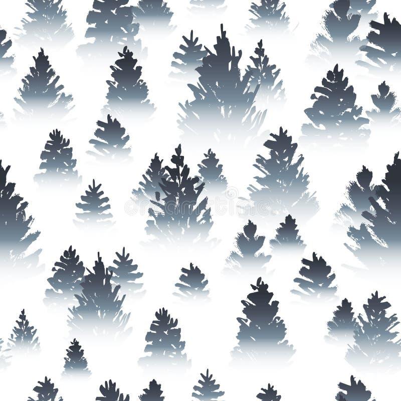 Άνευ ραφής σχέδιο με τα misty κωνοφόρα δασικά σκίτσα στο λευκό διανυσματική απεικόνιση