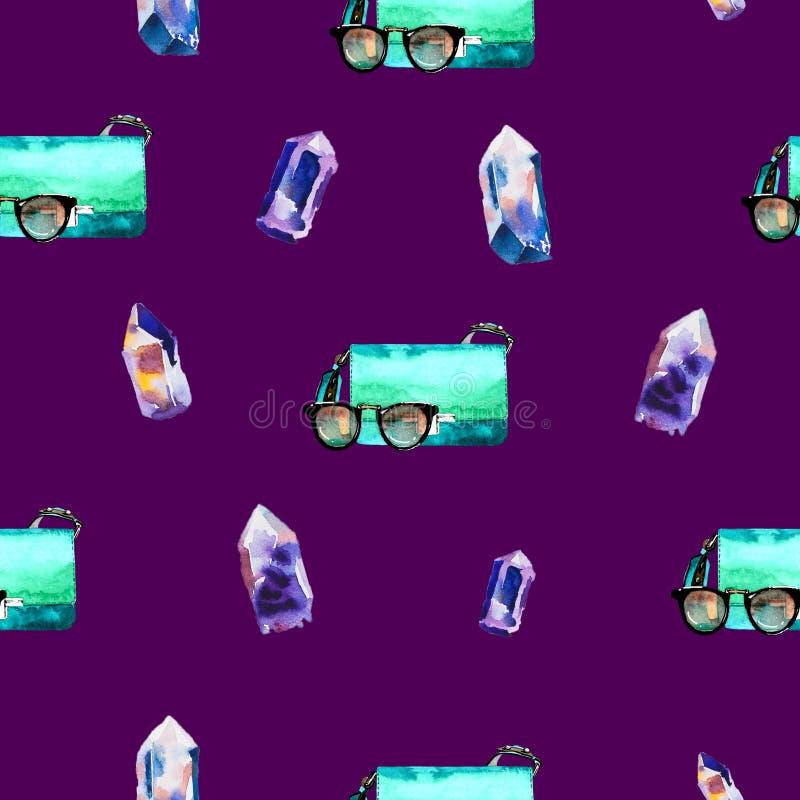 Άνευ ραφής σχέδιο με την απεικόνιση μόδας σε ένα υπόβαθρο δαμάσκηνων διανυσματική απεικόνιση