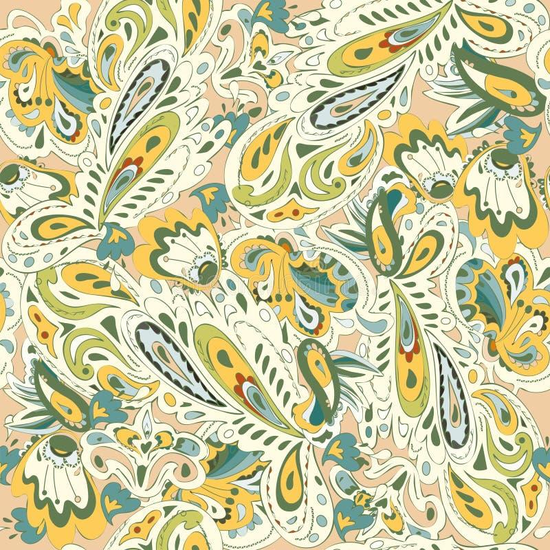 Άνευ ραφής σχέδιο με την ασιατική διακόσμηση Κίτρινα, χρυσά, μπεζ, μπλε, πράσινα χρώματα επίσης corel σύρετε το διάνυσμα απεικόνι διανυσματική απεικόνιση