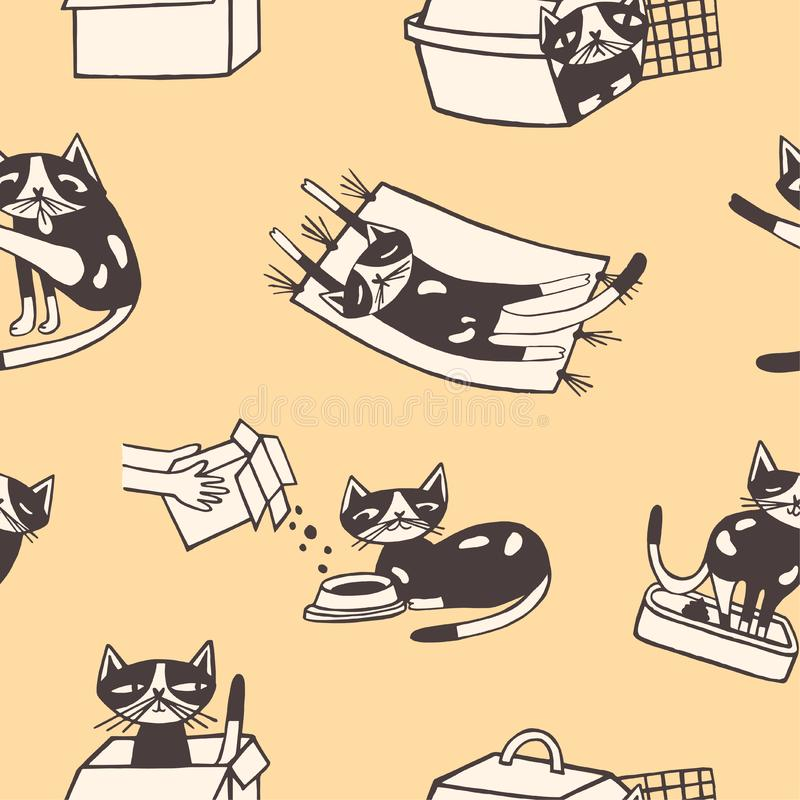 Άνευ ραφής σχέδιο με την αστεία πλύση η ίδια γατών, που τρώει, κοισμένος, καθμένος μέσα στο κιβώτιο χαρτοκιβωτίων και το μεταφορέ ελεύθερη απεικόνιση δικαιώματος