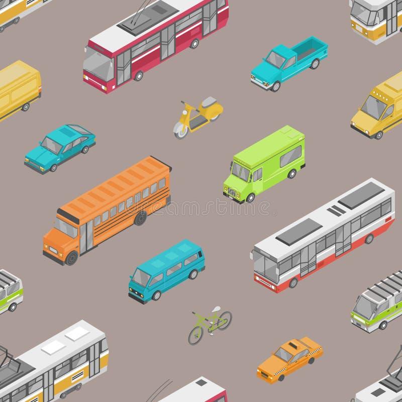 Άνευ ραφής σχέδιο με την αστική κυκλοφορία ή αυτοκινητική μεταφορά στην οδό πόλεων Σκηνικό με τα μηχανοκίνητα οχήματα διαφορετικο απεικόνιση αποθεμάτων