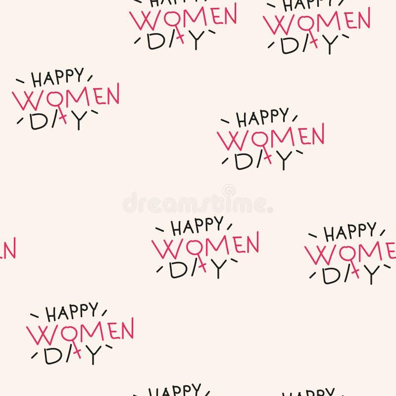 Άνευ ραφής σχέδιο με την ευτυχή ημέρα γυναικών κειμένων διάνυσμα ελεύθερη απεικόνιση δικαιώματος