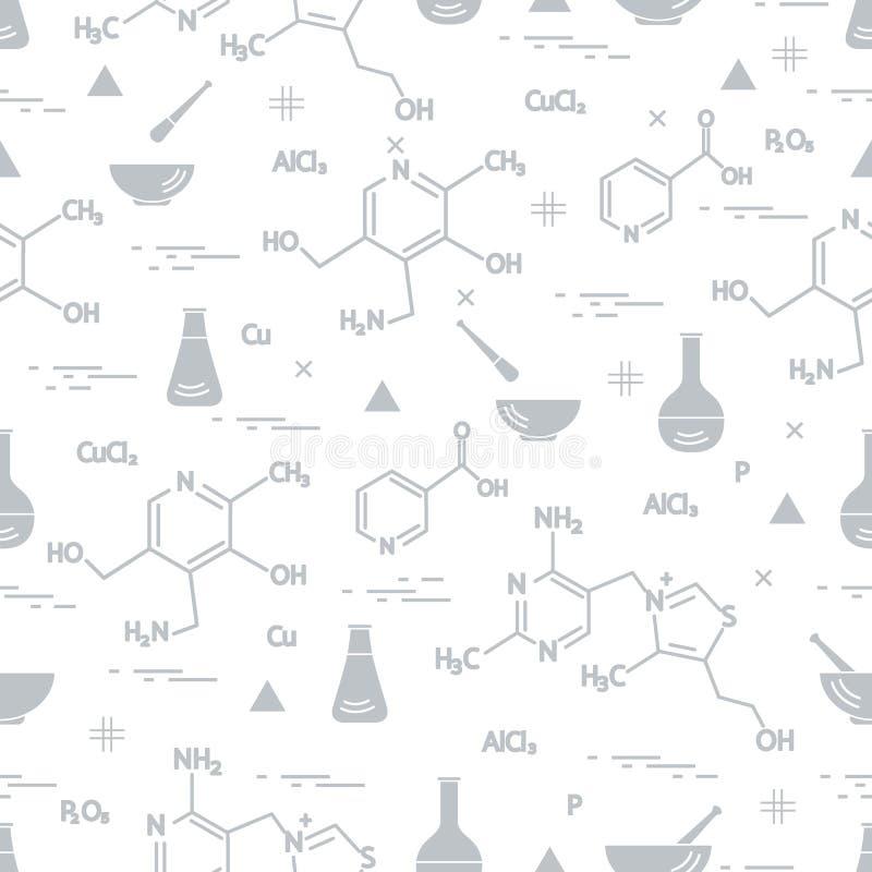 Άνευ ραφής σχέδιο με την ποικιλία επιστημονική, στοιχεία εκπαίδευσης: φιάλη, τύπος, γουδοχέρι και άλλο r ελεύθερη απεικόνιση δικαιώματος