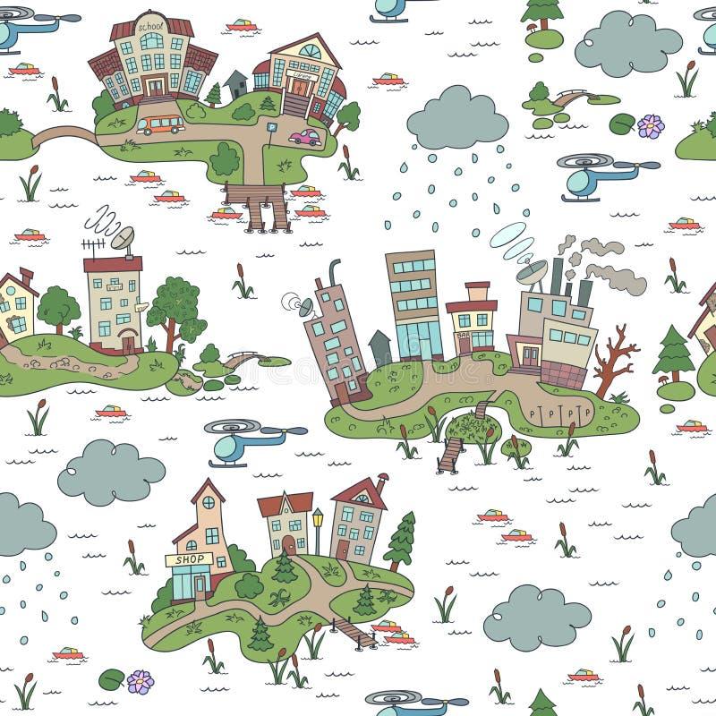 Άνευ ραφής σχέδιο με την πόλη νησιών κινούμενων σχεδίων συρμένες διακοσμήσεις &ch Διακοσμητικό σκίτσο της πόλης κινούμενων σχεδίω απεικόνιση αποθεμάτων