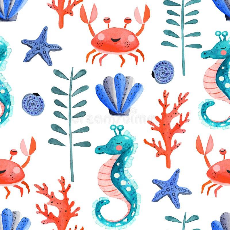 Άνευ ραφής σχέδιο με την υποβρύχια ζωή watercolor διανυσματική απεικόνιση