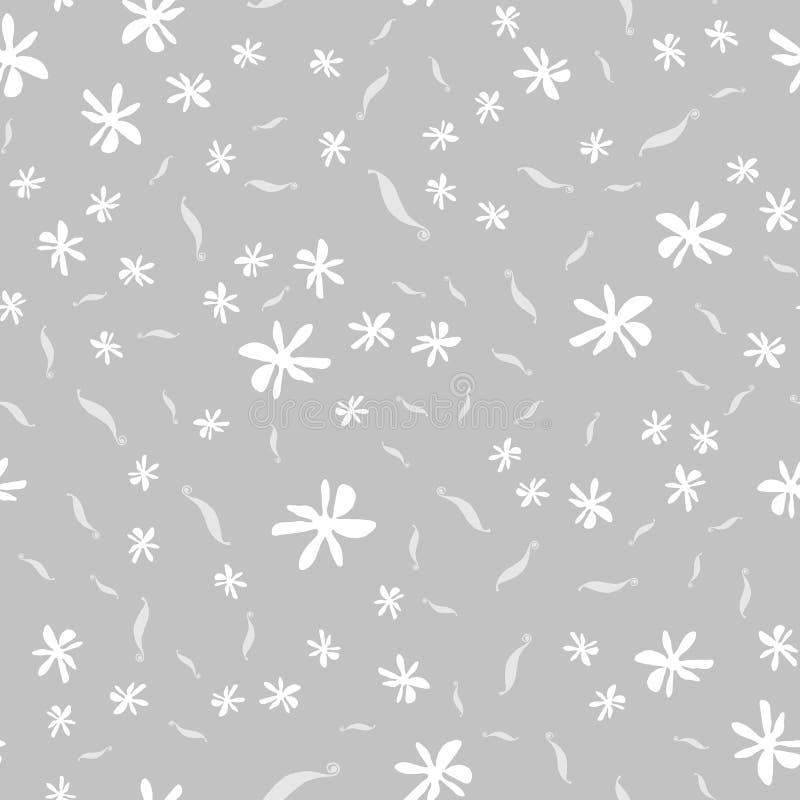 Άνευ ραφής σχέδιο με τη βανίλια, τα λουλούδια και τους λοβούς Βοτανική διανυσματική απεικόνιση στο χαριτωμένο ύφος για το κλωστοϋ απεικόνιση αποθεμάτων