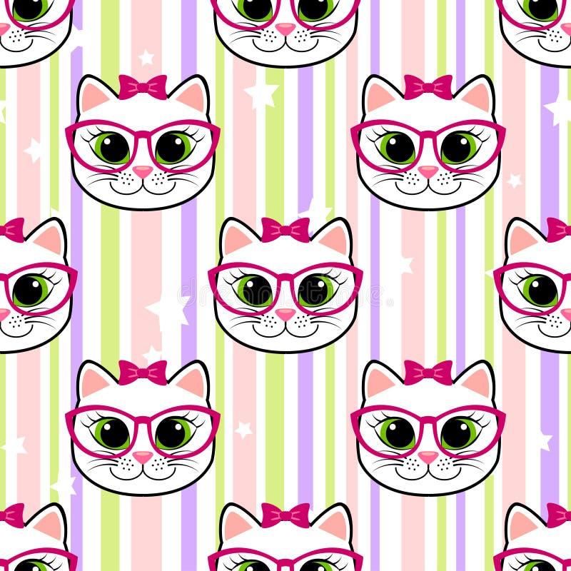 Άνευ ραφής σχέδιο με τη γάτα και τα αστέρια διανυσματική απεικόνιση