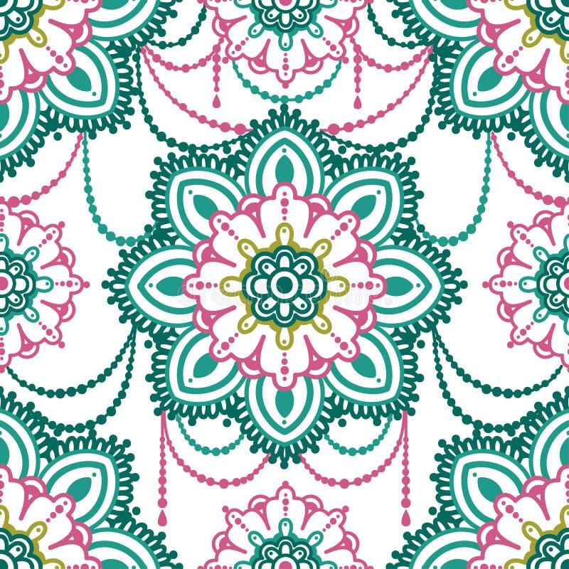 Άνευ ραφής σχέδιο με τη διακόσμηση madala, τυποποιημένο κόσμημα απεικόνιση αποθεμάτων