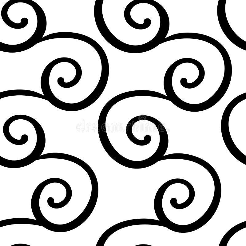 Άνευ ραφής σχέδιο με τη μαύρη διακόσμηση στροβίλου στο λευκό Υπόβαθρο για τις προσκλήσεις και τις κάρτες Γάμος, γενέθλια r απεικόνιση αποθεμάτων