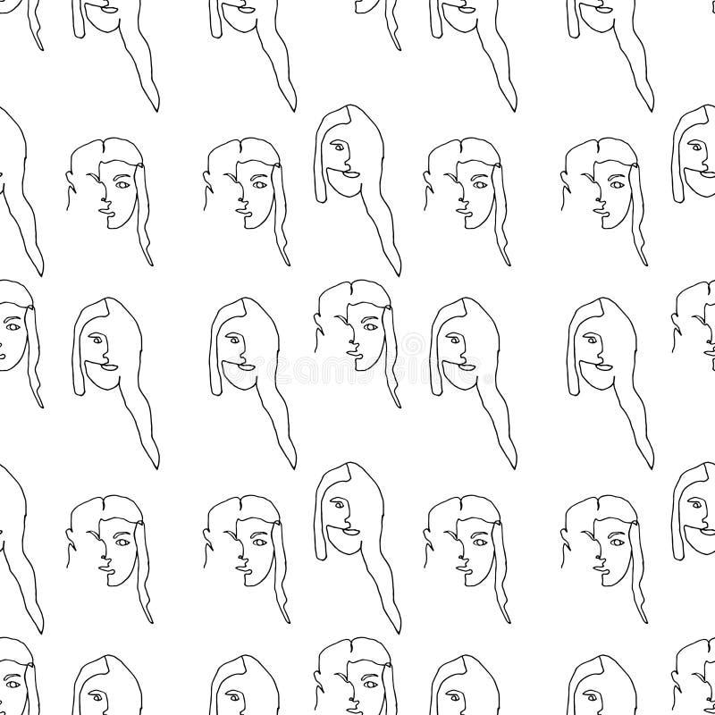 Άνευ ραφής σχέδιο με τη σκιαγραφία περιλήψεων του προσώπου γυναικών r Μαύρη σκιαγραφία στο άσπρο υπόβαθρο διανυσματική απεικόνιση