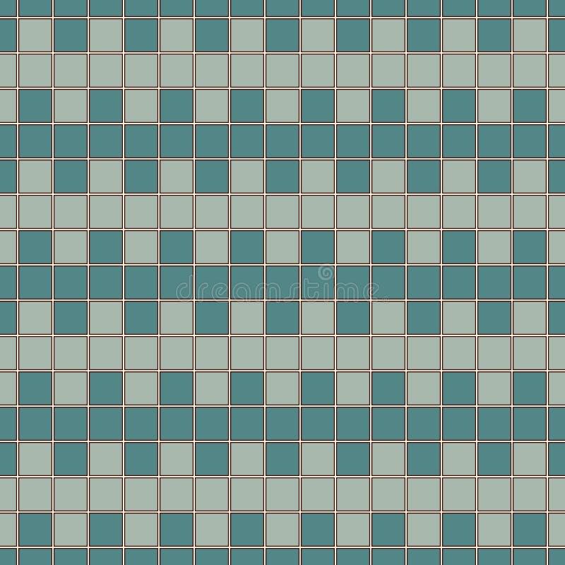 Άνευ ραφής σχέδιο με τη συμμετρική γεωμετρική διακόσμηση Μπλε τετραγωνικό αφηρημένο υπόβαθρο χρώματος Ταπετσαρία μωσαϊκών διανυσματική απεικόνιση