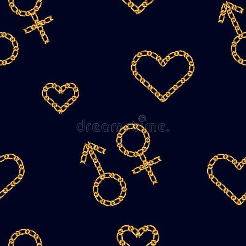Άνευ ραφής σχέδιο με τη χρυσά αλυσίδα καρδιών και το σύμβολο γένους Χρυσή διακόσμηση αλυσίδων για τις τυπωμένες ύλες μόδας Σύμβολ διανυσματική απεικόνιση
