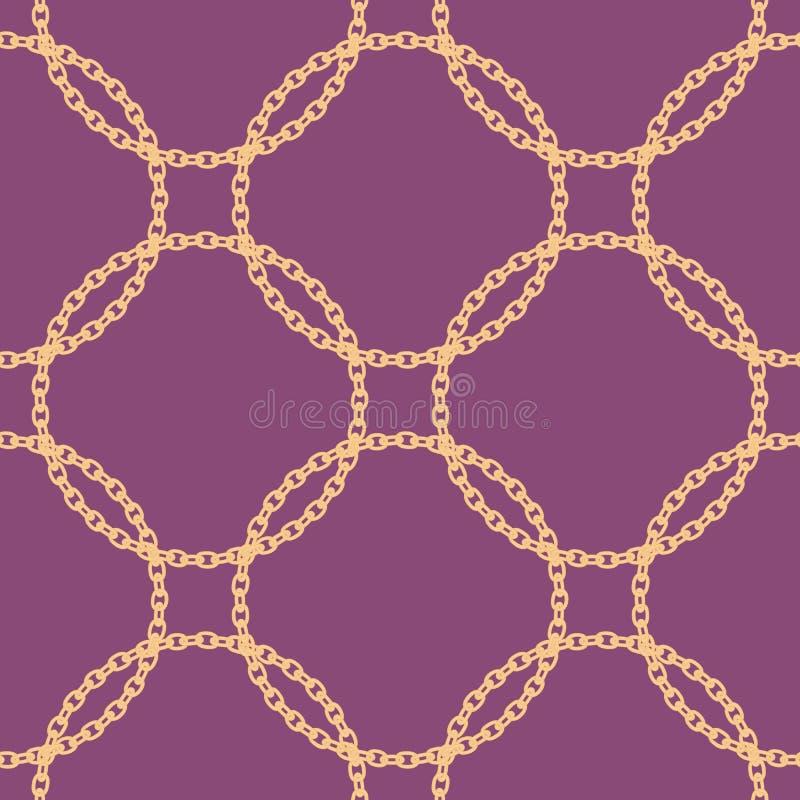 Άνευ ραφής σχέδιο με τη χρυσή αλυσίδα επίσης corel σύρετε το διάνυσμα απεικόνισης Στοιχείο ντεκόρ διανυσματική απεικόνιση