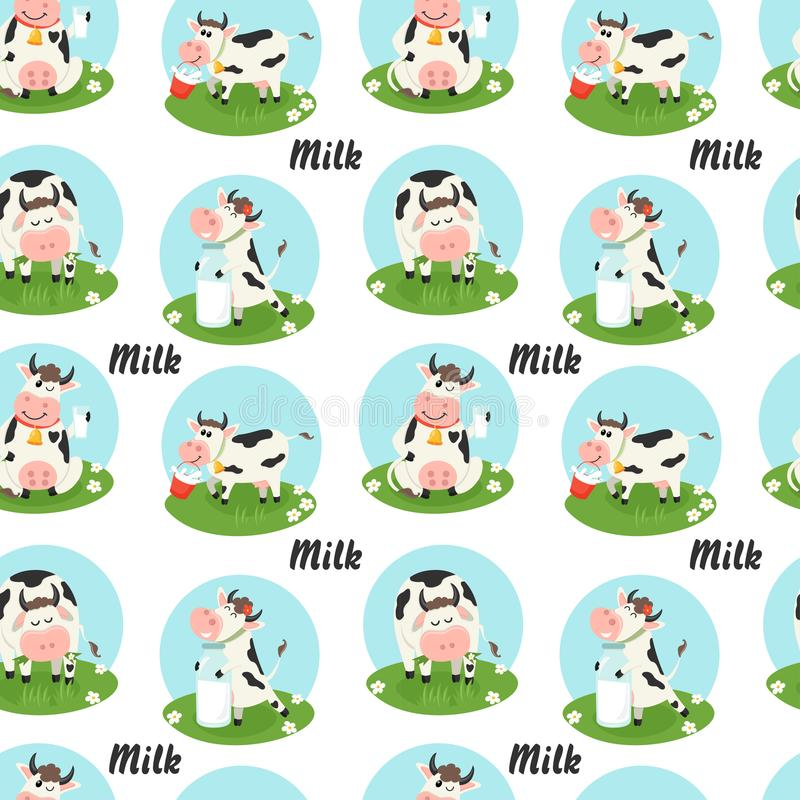 Άνευ ραφής σχέδιο με τις αγροτικές αγελάδες και το μπουκάλι γάλακτος ελεύθερη απεικόνιση δικαιώματος