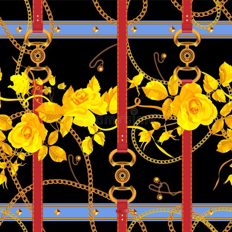Άνευ ραφής σχέδιο με τις αλυσίδες, τις ζώνες και τα τριαντάφυλλα Διανυσματικό floral μπάλωμα για το ύφασμα, μαντίλι διανυσματική απεικόνιση