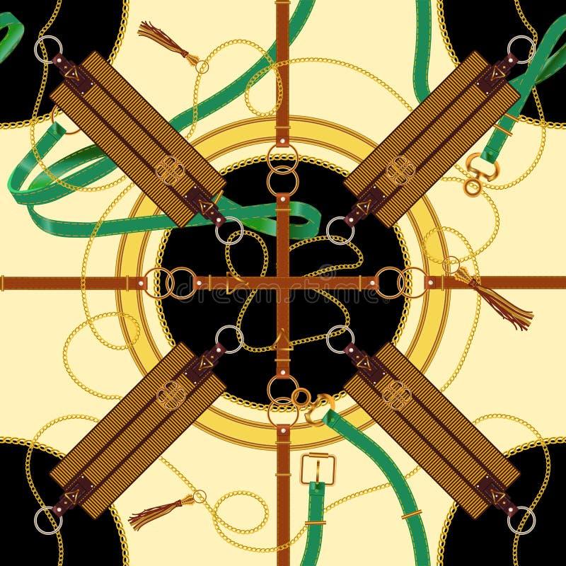 Άνευ ραφής σχέδιο με τις αλυσίδες, τις ζώνες και τα epaulets Διανυσματικό μπάλωμα για το ύφασμα, μαντίλι διανυσματική απεικόνιση