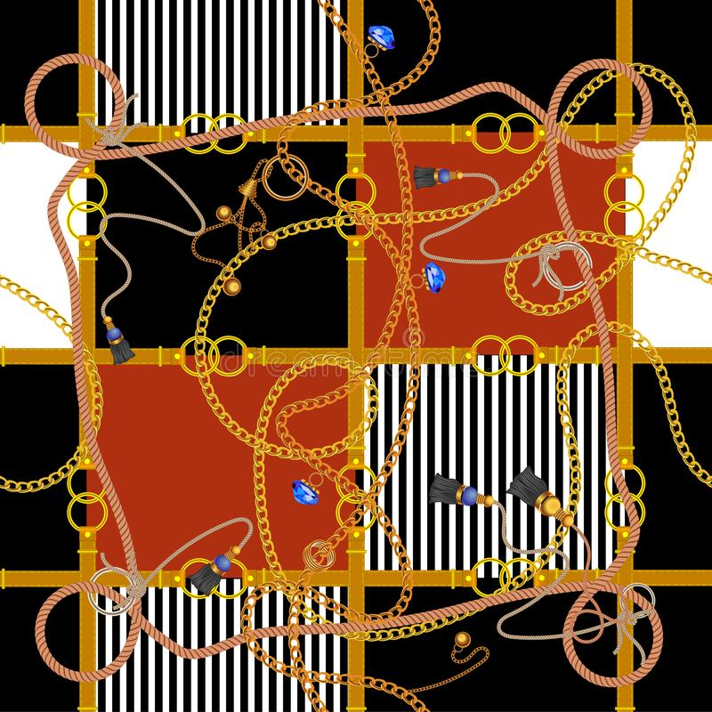 Άνευ ραφής σχέδιο με τις αλυσίδες και τα σχοινιά Διανυσματικό μπάλωμα για το ύφασμα, μαντίλι διανυσματική απεικόνιση