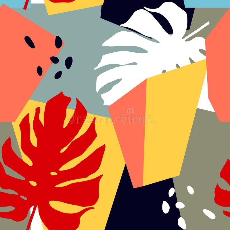 Άνευ ραφής σχέδιο με τις αφηρημένες μορφές και τα τροπικά φύλλα Καθιερώνουσα τη μόδα τέχνη στο ύφος κολάζ ελεύθερη απεικόνιση δικαιώματος