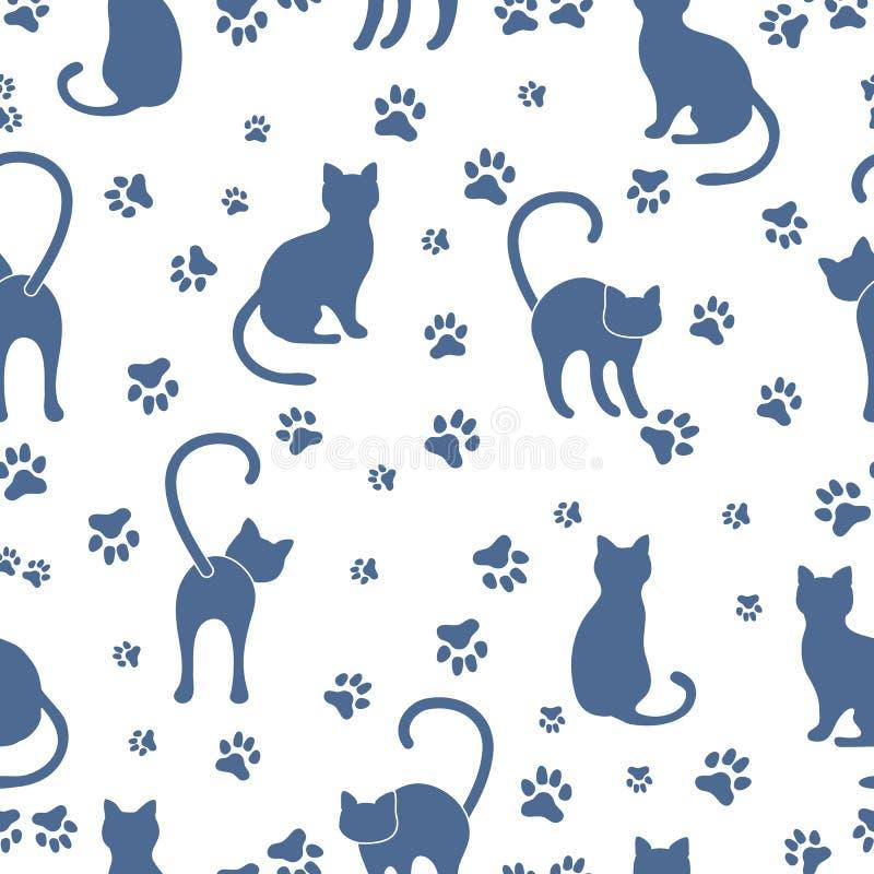 Άνευ ραφής σχέδιο με τις γάτες και τα ίχνη ελεύθερη απεικόνιση δικαιώματος