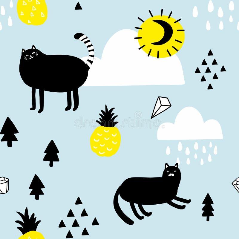 Άνευ ραφής σχέδιο με τις γάτες στον ουρανό απεικόνιση αποθεμάτων
