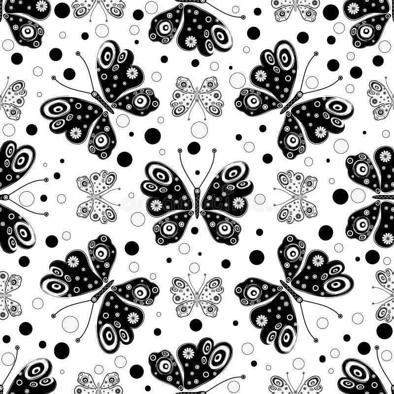 Άνευ ραφής σχέδιο με τις γραπτές συμμετρικές πεταλούδες διανυσματική απεικόνιση