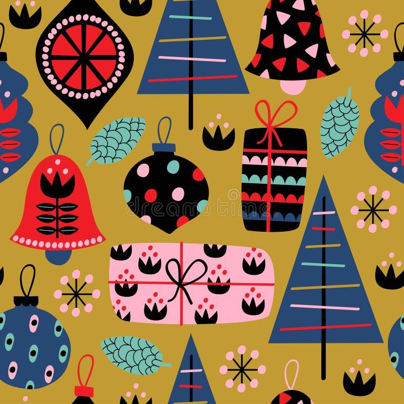 Άνευ ραφής σχέδιο με τις διακοσμήσεις Χριστουγέννων στο χρυσό υπόβαθρο ελεύθερη απεικόνιση δικαιώματος