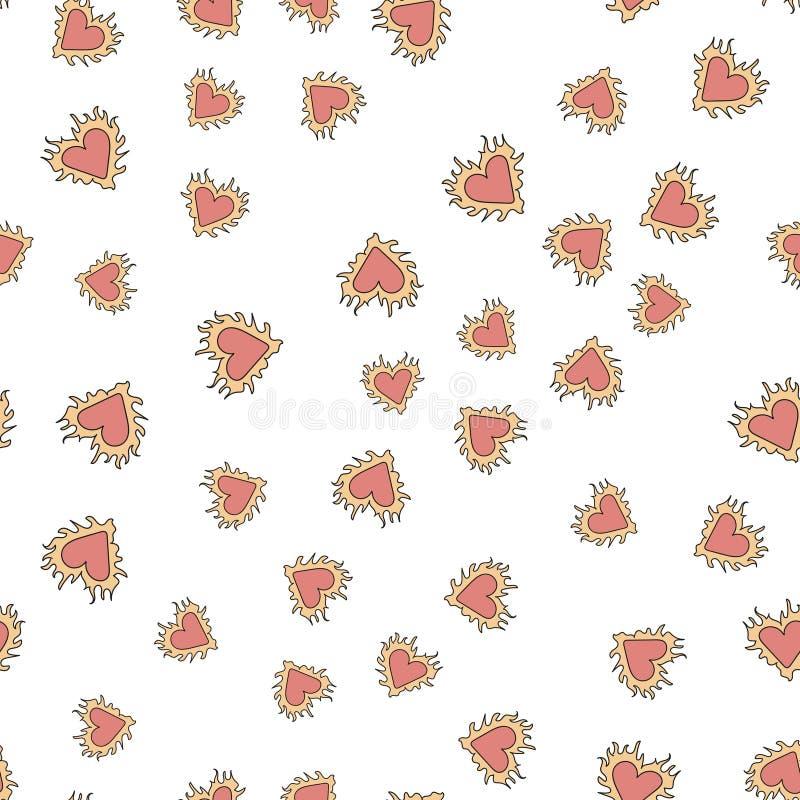 Άνευ ραφής σχέδιο με τις ζωηρόχρωμες καρδιές για την ημέρα βαλεντίνων s διάνυσμα διανυσματική απεικόνιση