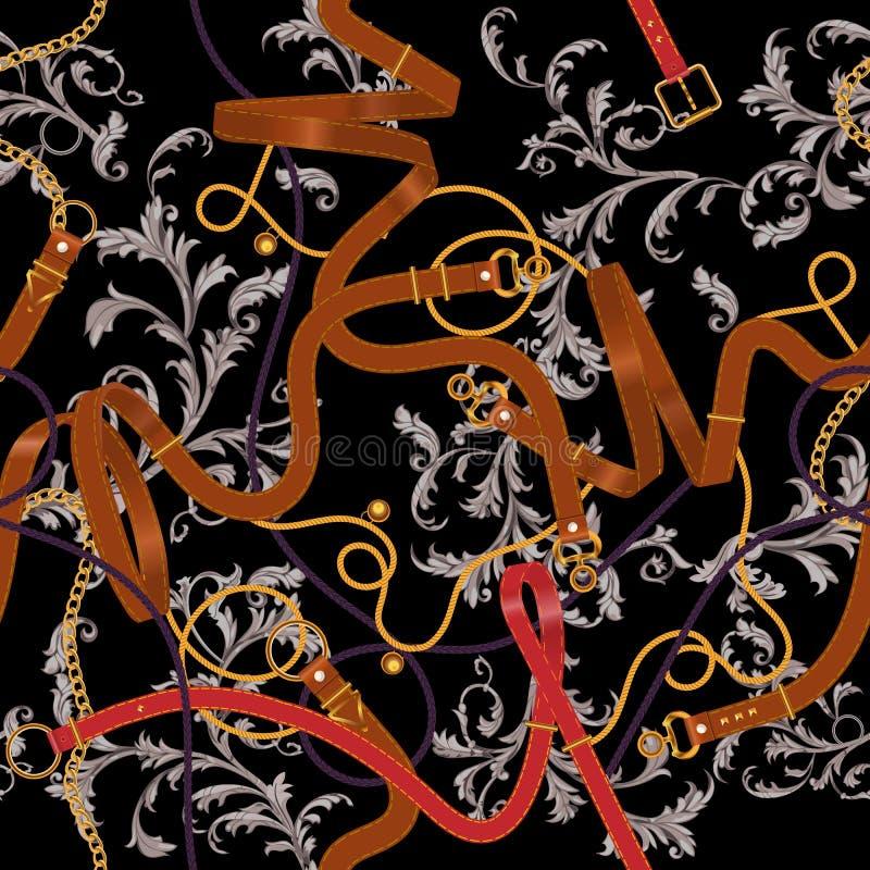 Άνευ ραφής σχέδιο με τις ζώνες, τις χρυσές αλυσίδες, και τα μπαρόκ φύλλα Ριγωτό μπάλωμα για τα μαντίλι, τυπωμένη ύλη, ύφασμα διανυσματική απεικόνιση