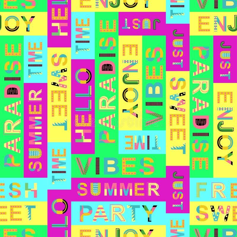 Άνευ ραφής σχέδιο με τις θερινές λέξεις - διανυσματική απεικόνιση, eps ελεύθερη απεικόνιση δικαιώματος
