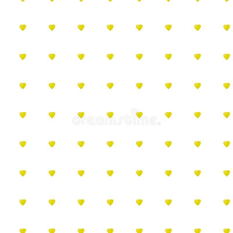 Άνευ ραφής σχέδιο με τις κίτρινες καρδιές watercolor Το χέρι σύρει το υπόβαθρο απεικόνισης διανυσματική απεικόνιση