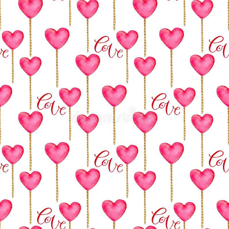 Άνευ ραφής σχέδιο με τις καρδιές στο ρόδινο χρώμα Χαριτωμένο υπόβαθρο στο watercolor Τυπωμένη ύλη ημέρας βαλεντίνων για το τυλίγο απεικόνιση αποθεμάτων