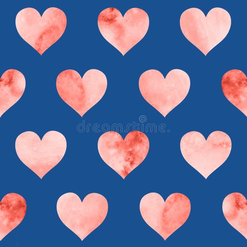 Άνευ ραφής σχέδιο με τις καρδιές watercolor στο χρώμα κοραλλιών διαβίωσης στο μπλε υπόβαθρο ελεύθερη απεικόνιση δικαιώματος