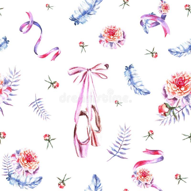 Άνευ ραφής σχέδιο με τις κορδέλλες watercolor, φτερά, pointes, peonies απεικόνιση αποθεμάτων
